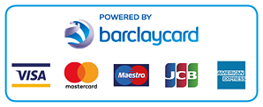 Powered by Barclaycard: Visa, MasterCard, Maestro, JCB, American Express