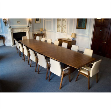 Fulcrum Box Base Barrel Shaped Boardroom Table